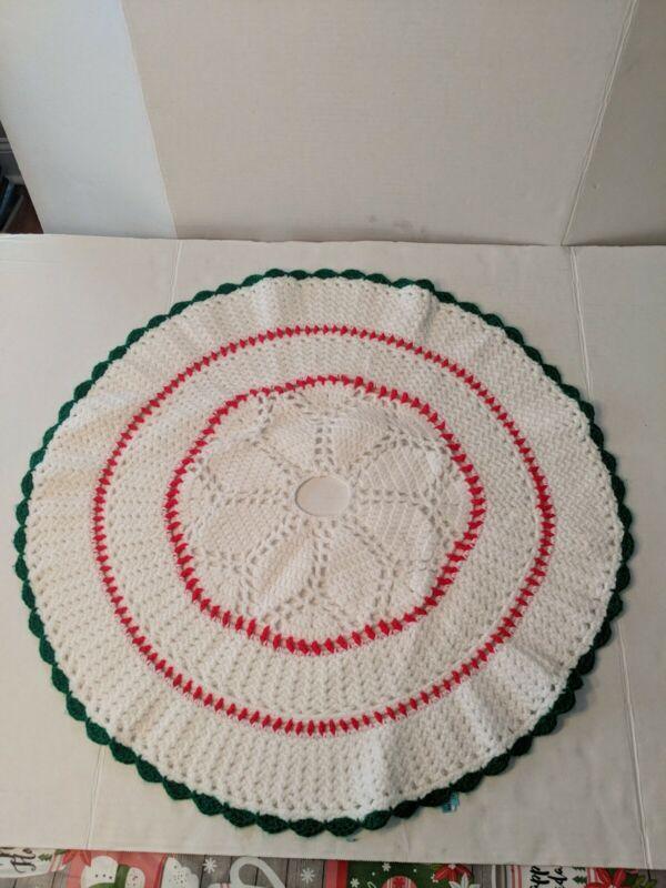 Vintage Hand Crocheted Tree Skirt 24 In Red, White, Green