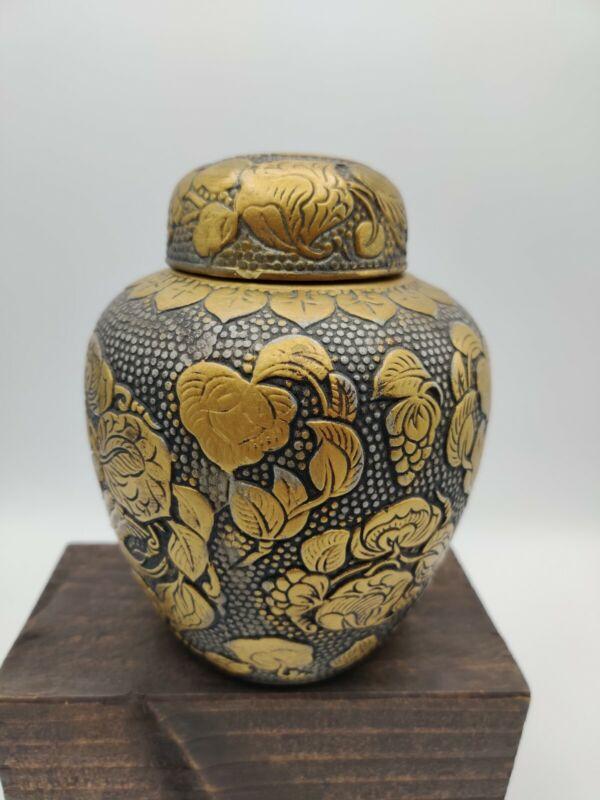"Vintage Napcoware Japanese Black Gold Ginger Jar Bird Scene 6"" Tall *READ*"