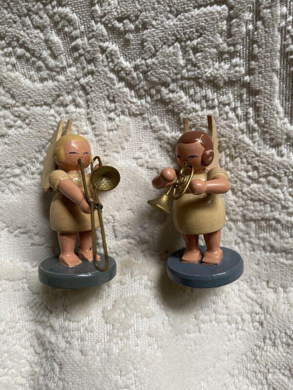 VTG Wendt Kuhn Erzgebirge Hand Painted Wooden Angels Playing Instruments