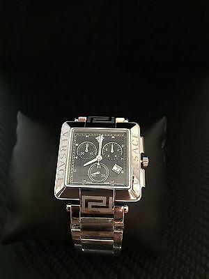 Versace Unisex Diamond Accented Black Dial Chronograph Watch