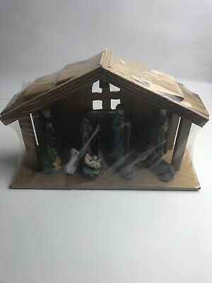 Nativity Set of 9 Painted Porcelain Figurine With Wooden Stable Christmas Rustic