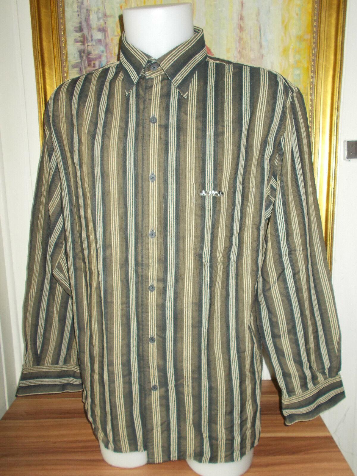 Chemise manche longue coton beige rayé marron/gris  mise au green xl /44