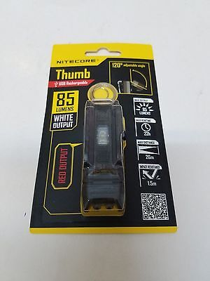 - NiteCore THUMB USB Rechargeable LED Worklight Keychain + Red Light Flashlight