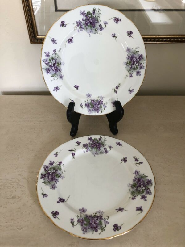 "Hammersley VICTORIAN VIOLETS 10 3/4"" Dinner Plate Set Of 2!"