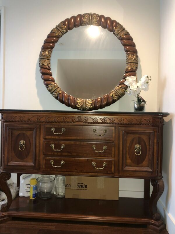 Traditional Wood And Marble Dresser/ Side Table With Mirror
