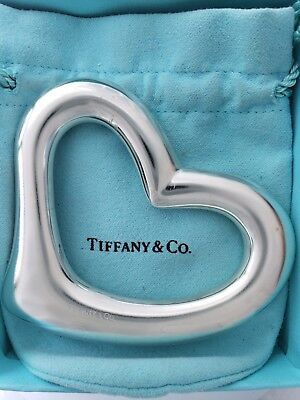 Heart Baby Rattle - Tiffany & Co Elsa Peretti Signed Sterling Silver Open Heart Baby Rattle