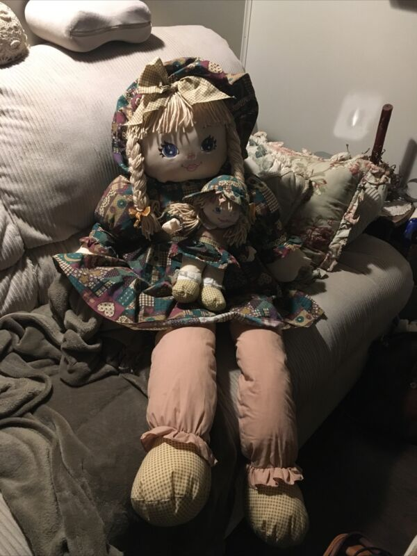 """Sweetie Mine Huge 48"""" Life Size Plush Rag Doll With Baby 4ft Tall 1995"""