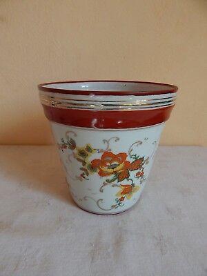 Cache pot en porcelaine de Couleuvre - décor floral polychrome Cachepot Floral