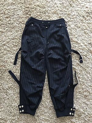 CHRISTIAN DIOR BOUTIQUE Navy Blue Striped 3/4 Trousers   FR 36 UK 8