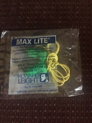50 Pair Howard Leight Max Lite Corded Foam Disposable Ear Plugs Lpf-30
