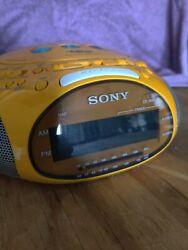 Sony Dream Machine Psyc ICF-CD831 CD Player Alarm Clock Radio Yellow Tested
