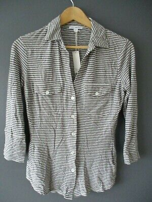£235 BNWTS JAMES PERSE SHIRT (1-S) GREY COTTON STRIPED BUTTON-FRONT - BNWTS -