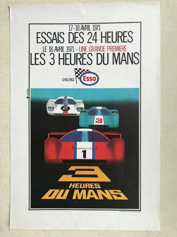 Poster 1971 24 Heures Mans qualifying original 24 Hours