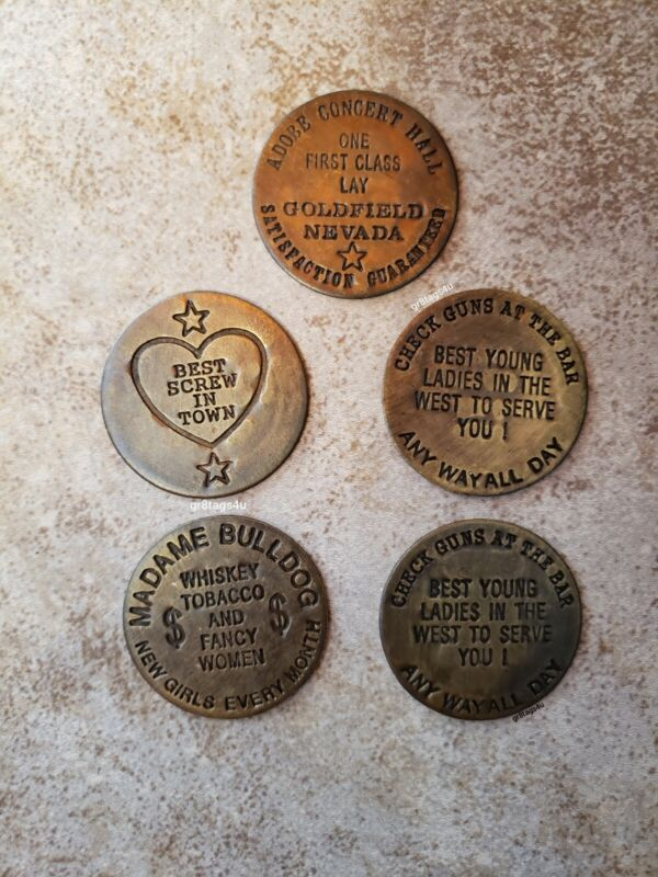 Brothel Cat House tokens 5pc set solid brass hotel whore house