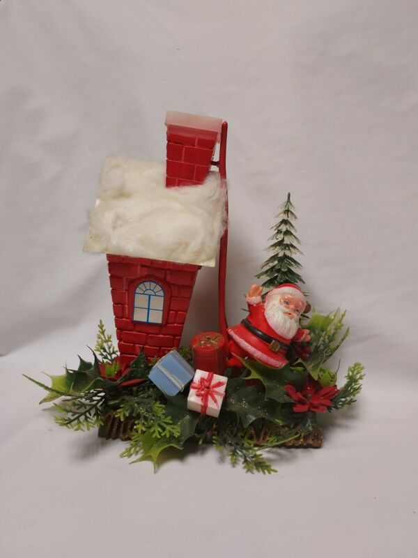 Vintage Plastic Santa with House Ladder Packages 1960s Christmas Display