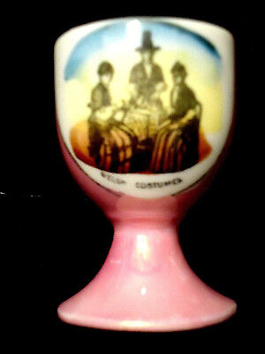 Pink Lusterware Egg Cup Welsh Women in Costumes Transfer vtg antique Victorian