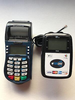 Hypercom Equinox T4220 Credit Card Machine W Pax R50 Contactless Reader Lcd