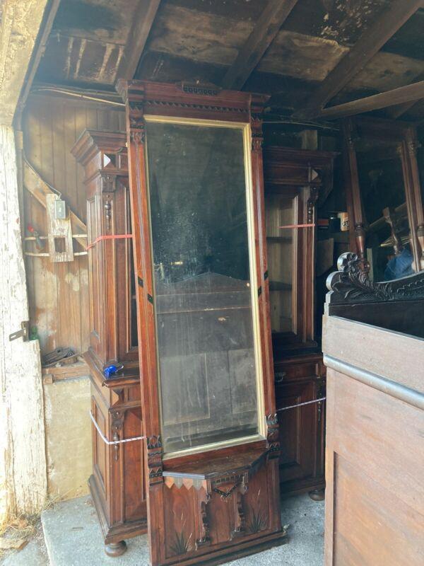 Outstanding Walnut Eastlake Victorian Pier Mirror 7ft Original