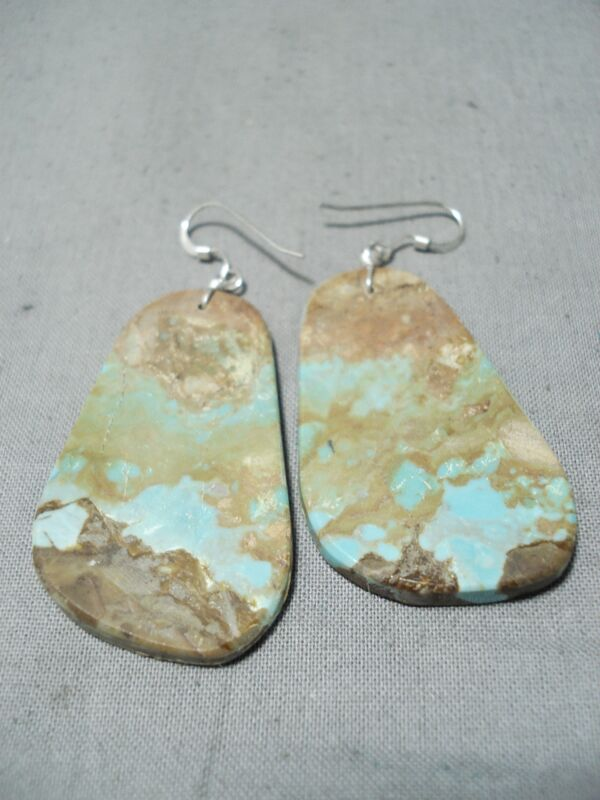 EXTRAORDINARY SANTO DOMINGO ROYSTON TURQUOISE STERLING SILVER EARRINGS