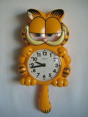 Vintage 1978 Sunbeam GARFIELD Motion Animated Cat Figure Quarts Wall Clock