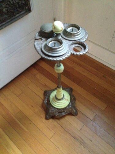 Vintage Art Deco Jadeite Carmel Swirl Agate Glass Cast Iron Smoking Stand