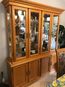 Kitchen table and chairs and display cabinet
