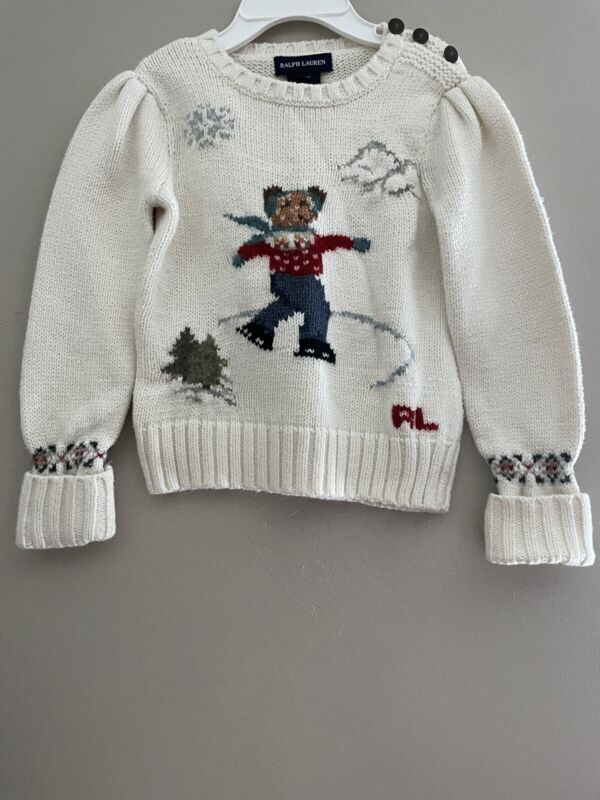 Vintage Ralph Lauren Polo Bear Toddler Sweater Size 3T Winter Ice Skating
