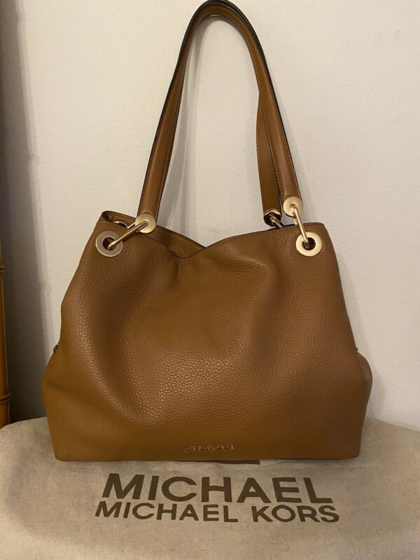 Michael Kors Chain Pebbled Leather Shoulder Bag Hobo Purse Luggage Brown