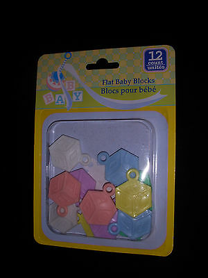 12 Flat Baby Blocks for Baby Shower - Baby Favor / Decoration - New in Package!](Baby Shower Decoration Packages)