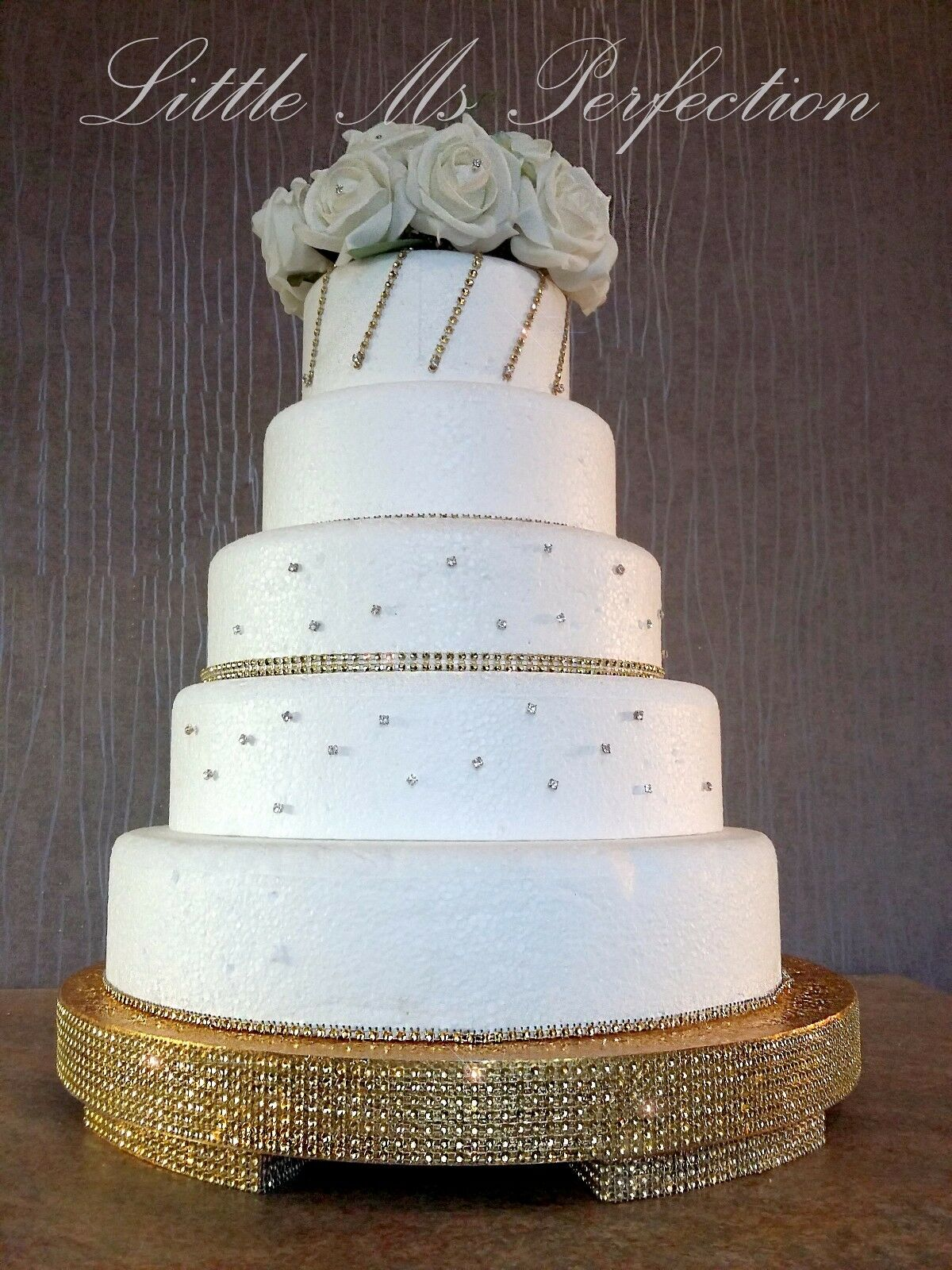 GOLD SILVER DIAMANTE Crystal Wedding Cake Stand Round ...