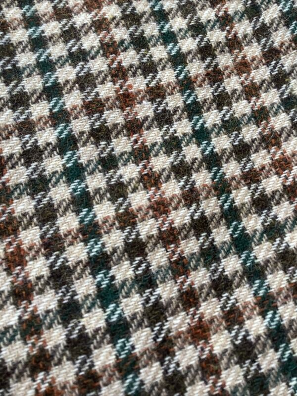 "Vintage Orange Green Brown Wool Plaid Material Fabric Remnant 59""x37"""