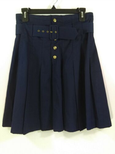 Vintage Contempo Casuals 11 Skirt Navy Blue Belt Pleats Gold Button Fly Retro