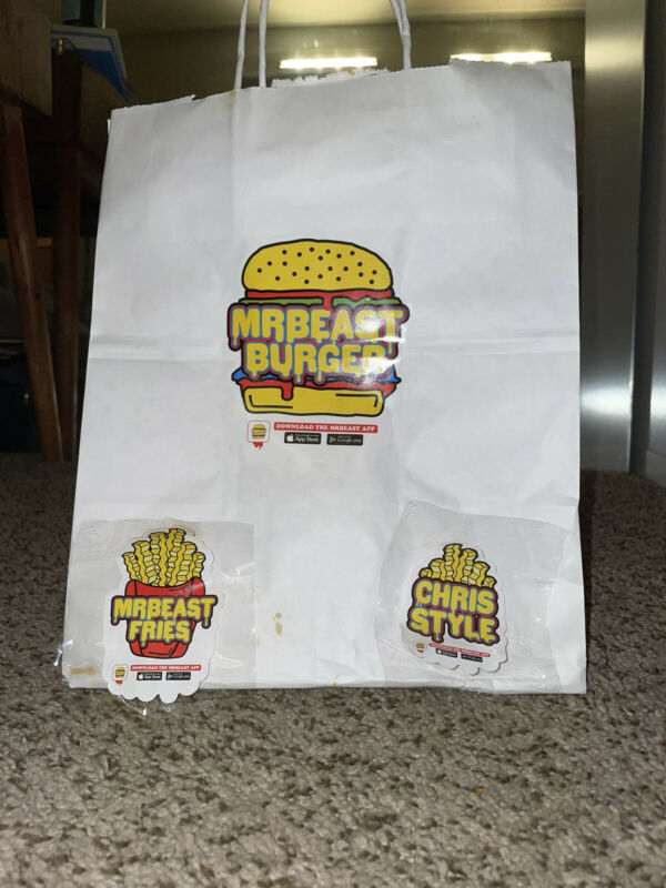 LIMITED EDITION - Mr Beast Burger Authentic Bag and Three Stickers