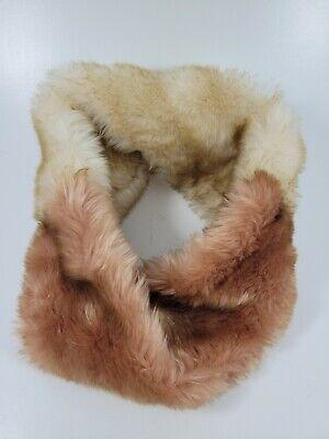 Vintage Scarf Styles -1920s to 1960s VINTAGE Faux Fur Cowl Pink Peach and Beige Neck Loop Infinity Twist Scarf $9.99 AT vintagedancer.com