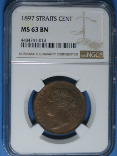 1897 Straits Settlements 1 Cent NGC MS 63 BN Uncirculated