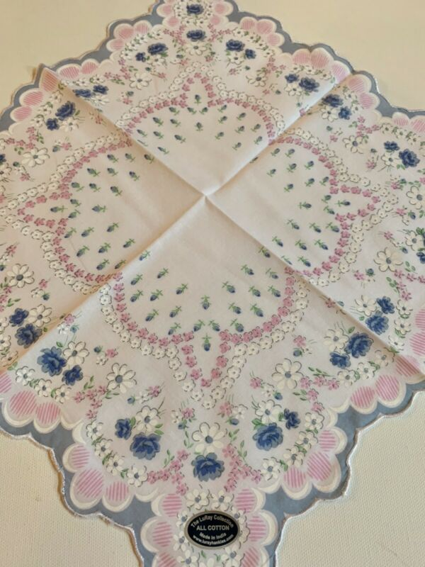 Beautiful New Pastel Blue& Pink Floral Handkerchief - LuRay Hankie!