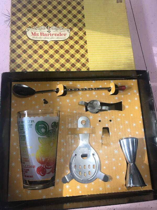 Vintage MCM Mr Bartender Federal Glass Tumbler Box Master Set Drink Mixer Spoon