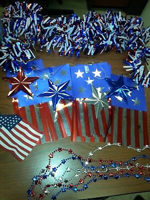 Lot of FOURTH OF JULY party supplies banner beads necklace flag country garland ()