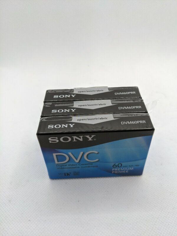 Lot of 3 Sony DVC  Premium Mini DV Digital Video Tapes DVM60PRR NEW!