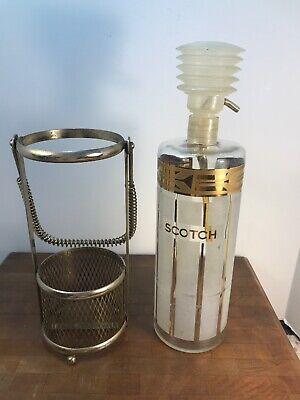 Vintage Mid Century 1950's FRED PRESS DECANTER Scotch Pump Dispenser Mesh Metal