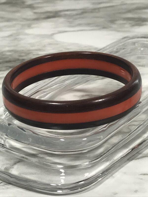 VTG Orange Bakelite Dark Wood Laminated Bracelet 8.25 Inches Unique Fall Classic