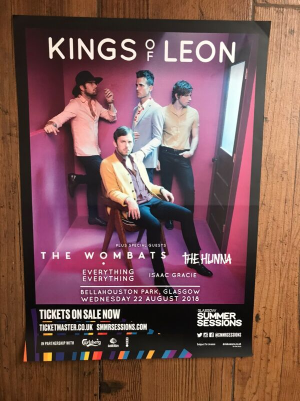 Original King Of Leon 2018 Concert Poster The Wombats Everything Everything