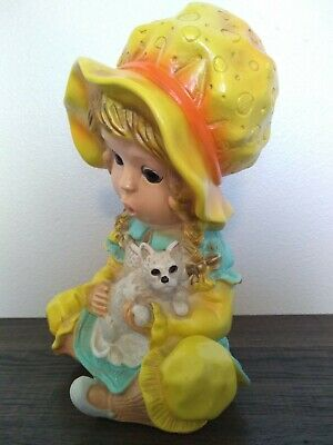 1974 Universal Statuary Corp. Little Girl with Kitty Cat 11""