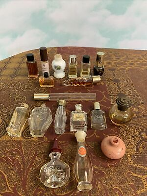 Vintage Lot of Mini Perfumes & Bottles Some full Chanel Gucci Ferre Wood hue Etc