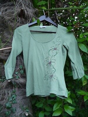 VINTAGE 'PER UNA' MOSS GREEN 3/4 SLEEVE TOP/TUNIC/BLOUSE-SIZE 12-FLORAL APPLIQUE