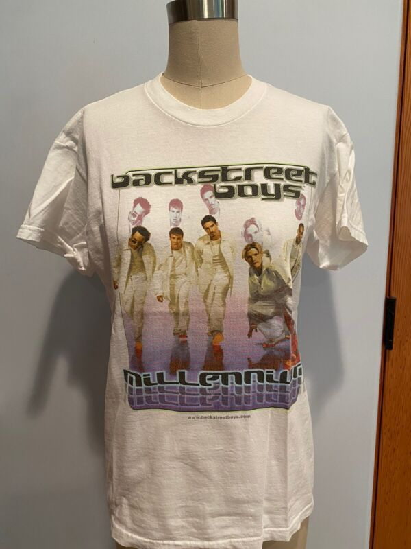 Vintage Backstreet Boys 2000 Millennium T-Shirt white Nick Kevin Brian XL youth