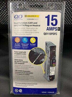 Square D Qo115pdfc 15a Cafi Gfci Dual Function Circuit Breaker Plug On Neutral