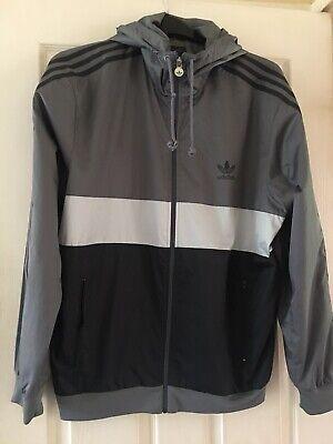 Vintage Adidas Jacket Size Large Grey Windbreaker Retro Three Stripe