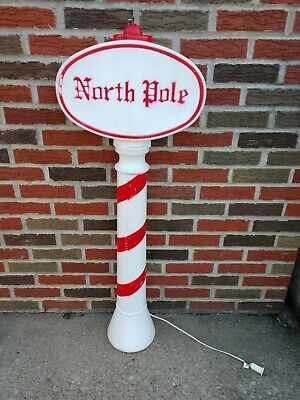 OLD VINTAGE CHRISTMAS DECORATIONS NORTH POLE BLOW MOLD SIGN OUTDOOR YARD DECOR