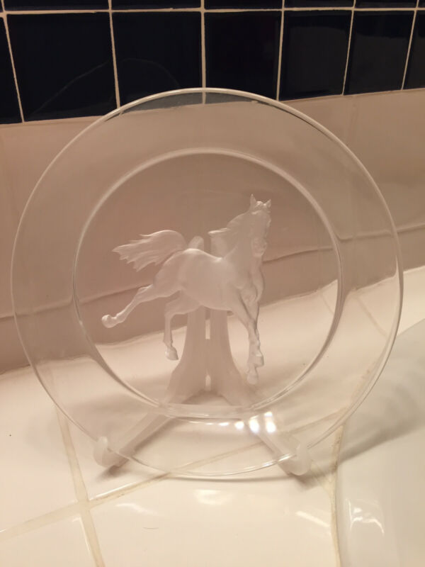 """crystal horse decorative plate, 7 1/8"""" diameter. Etched horse"""